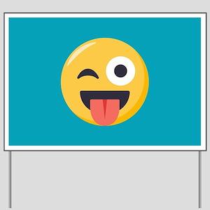 Winky Tongue Emoji Yard Sign