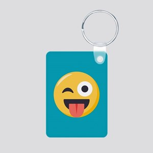 Winky Tongue Emoji Aluminum Photo Keychain