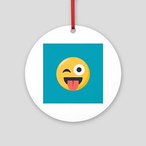 Winky Tongue Emoji Round Ornament