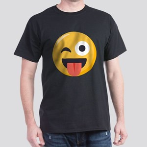 Winky Tongue Emoji Dark T-Shirt