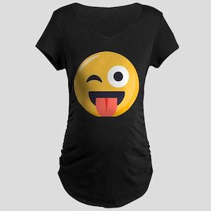 Winky Tongue Emoji Maternity Dark T-Shirt