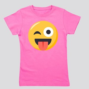 Winky Tongue Emoji Girl's Tee