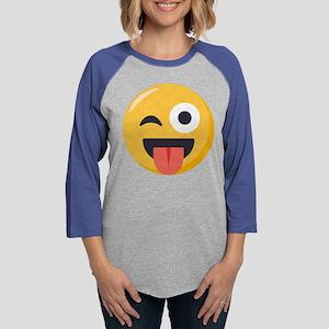 Winky Tongue Emoji Womens Baseball Tee