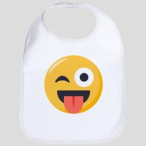 Winky Tongue Emoji Cotton Baby Bib