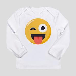 Winky Tongue Emoji Long Sleeve Infant T-Shirt
