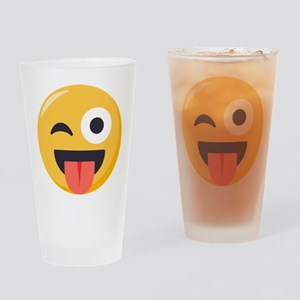 Winky Tongue Emoji Drinking Glass