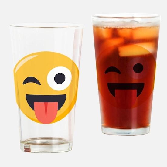 Winky Tongue Emoji Drinking Glass