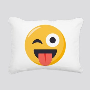 Winky Tongue Emoji Rectangular Canvas Pillow