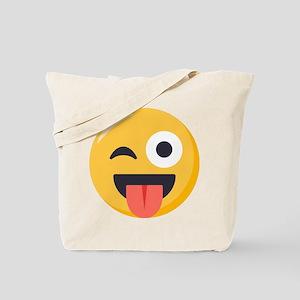 Winky Tongue Emoji Tote Bag