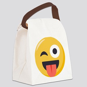 Winky Tongue Emoji Canvas Lunch Bag