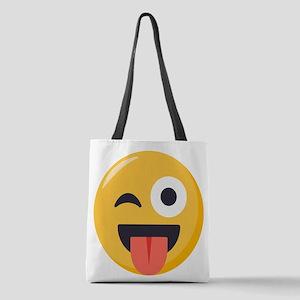 Winky Tongue Emoji Polyester Tote Bag