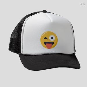 Winky Tongue Emoji Kids Trucker hat