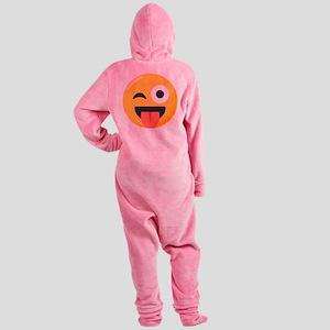 Winky Tongue Emoji Footed Pajamas