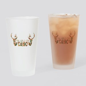 REAL GIRLS WEAR CAMO Drinking Glass
