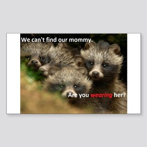 Anti-Fur Raccoon Dog pups Sticker (Rectangle)