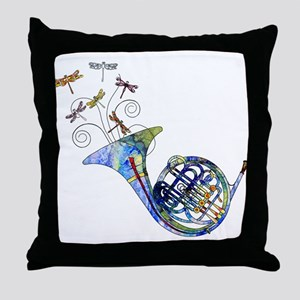 Wild French Horn Throw Pillow