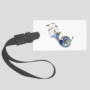 Wild French Horn Large Luggage Tag
