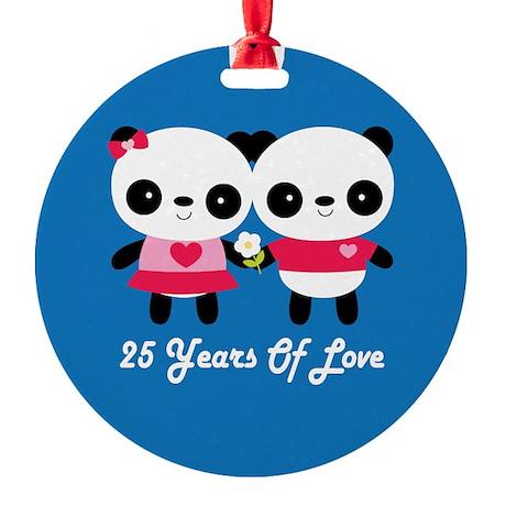 25th Anniversary Panda Couple Round Ornament