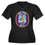 USS IOWA Women's Plus Size V-Neck Dark T-Shirt