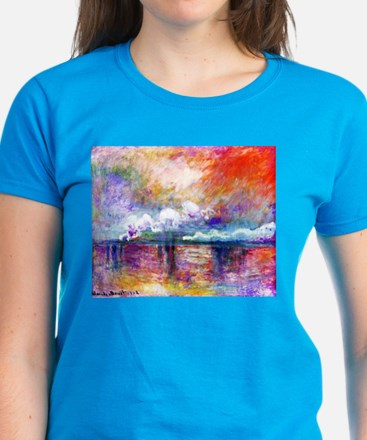 Claude Monet Charing Cross Bridge Women's Dark T-S