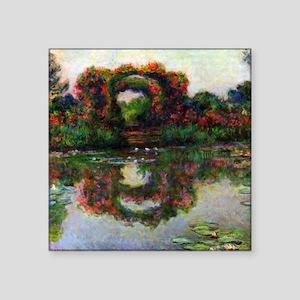 "Claude Monet The Rose Elbows Square Sticker 3"" x 3"