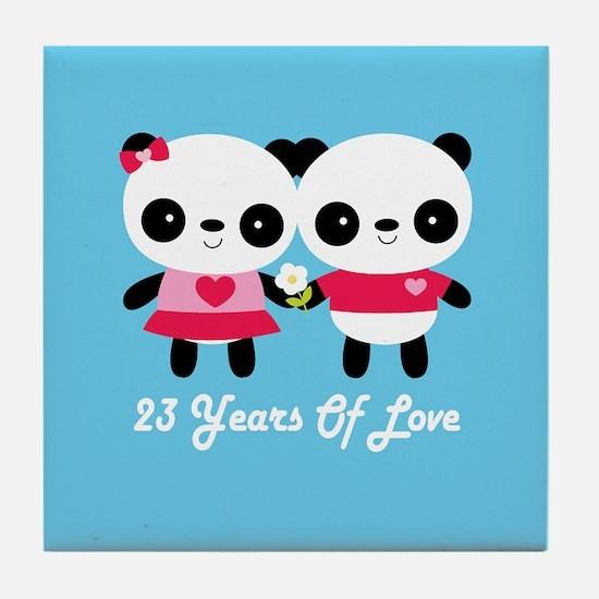 23rd Anniversary Panda Couple Tile Coaster
