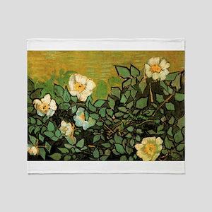 Van Gogh Wild Roses Throw Blanket