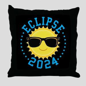 Cute Sun Eclipse 2017 Throw Pillow