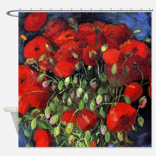 Van Gogh Red Poppies Shower Curtain