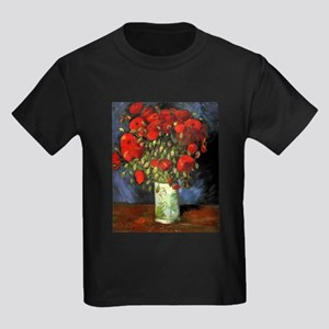 Van Gogh Red Poppies Kids Dark T-Shirt