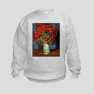 Van Gogh Red Poppies Kids Sweatshirt