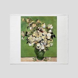 Van Gogh Roses Throw Blanket
