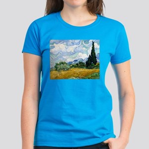 Van Gogh Wheat Field With Cypresses Women's Dark T