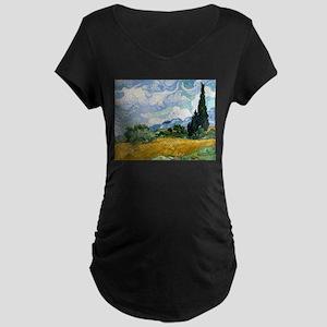 Van Gogh Wheat Field With Cypresses Maternity Dark