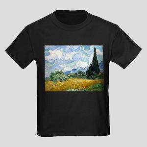 Van Gogh Wheat Field With Cypresses Kids Dark T-Sh
