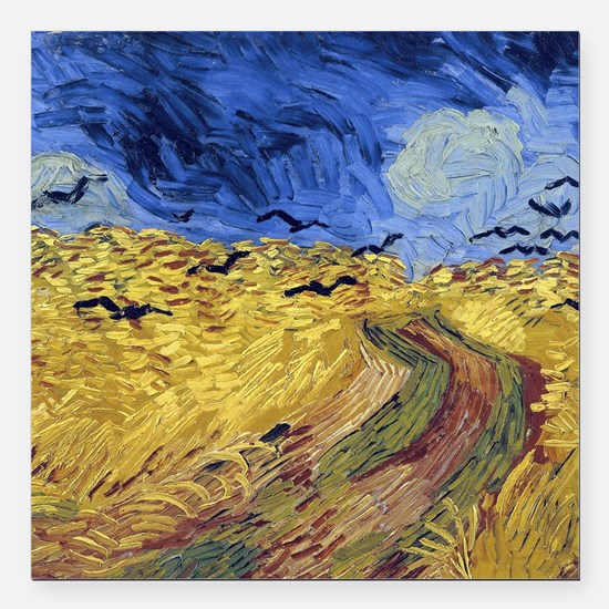 Van Gogh Wheatfield with Crows Square Car Magnet 3