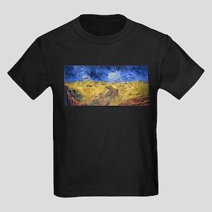 Van Gogh Wheatfield with Crows Kids Dark T-Shirt