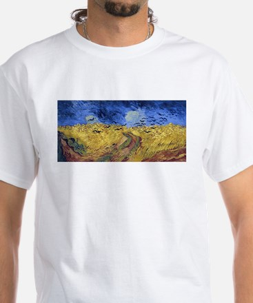 Van Gogh Wheatfield with Crows White T-Shirt