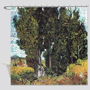 Cypresses with Two Figures Shower Curtain
