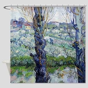 Van Gogh Flowering Orchards Shower Curtain
