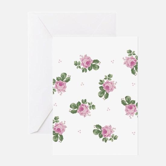 Pink Roses Floral Pattern Greeting Card