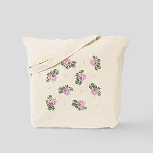 Pink Roses Floral Pattern Tote Bag