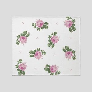 Pink Roses Floral Pattern Throw Blanket