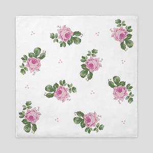 Pink Roses Floral Pattern Queen Duvet