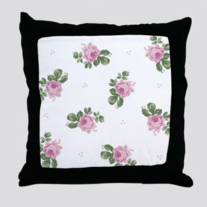 Pink Roses Floral Pattern Throw Pillow