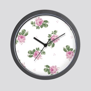 Pink Roses Floral Pattern Wall Clock