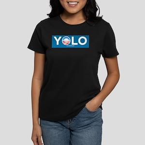 YOLOBAMA Bumper Sticker Women's Dark T-Shirt