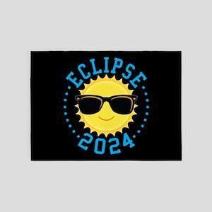 Cute Sun Eclipse 2017 5'x7'Area Rug