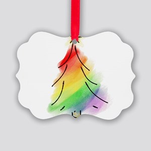 rainbowtree copy Picture Ornament
