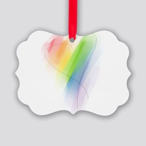 watercolor-rainbow-heart_tr Picture Ornament